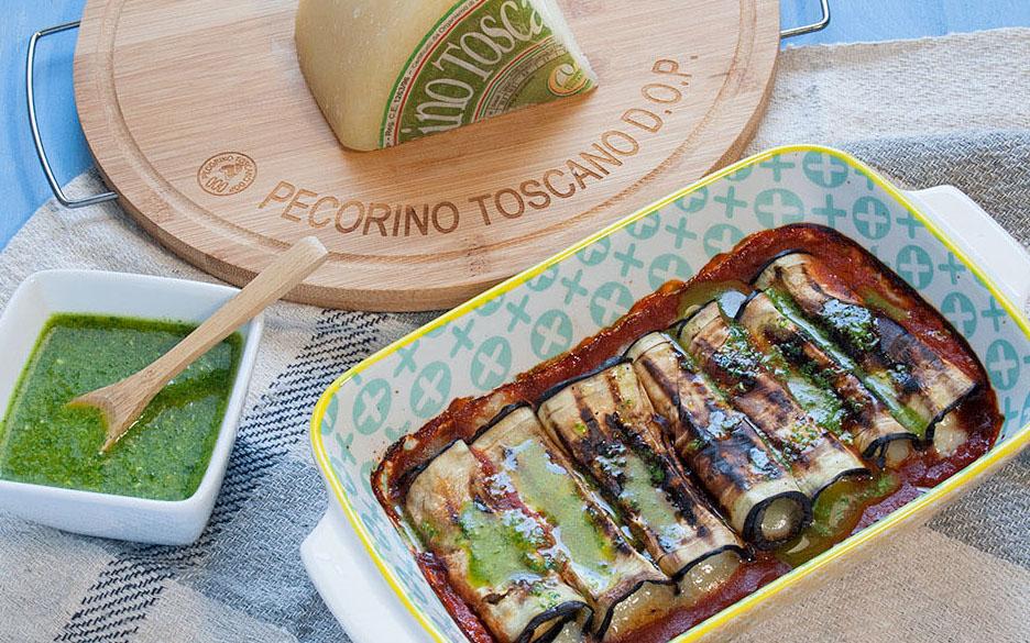 Involtini di melanzane con Pecorino Toscano DOP e olio al basilico